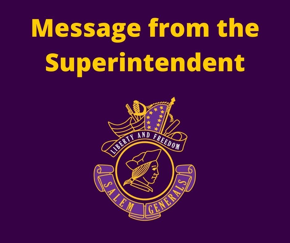Message from Superintendent Glover